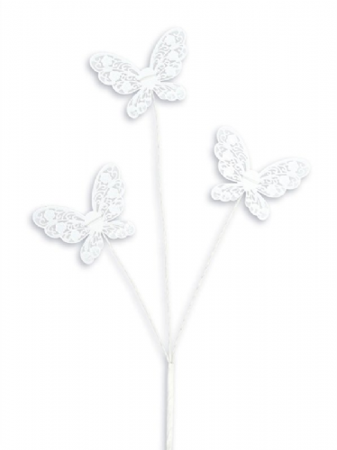 Lace Effect Butterfly Spray - White
